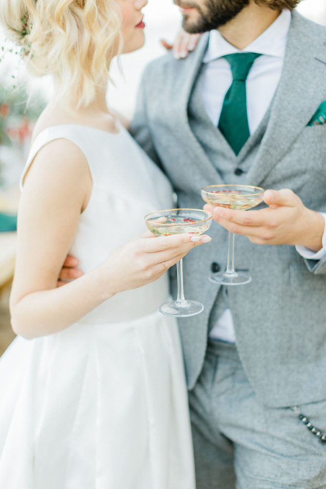 Elegant bride and groom make a toast on wedding day
