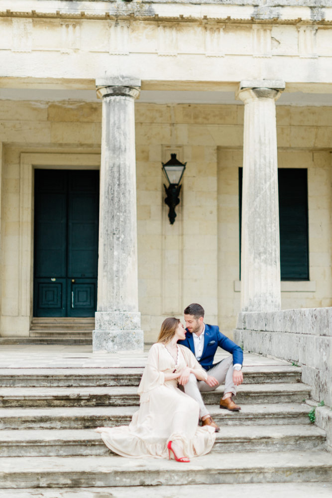 Royal residence location for this engagement session at Corfu island