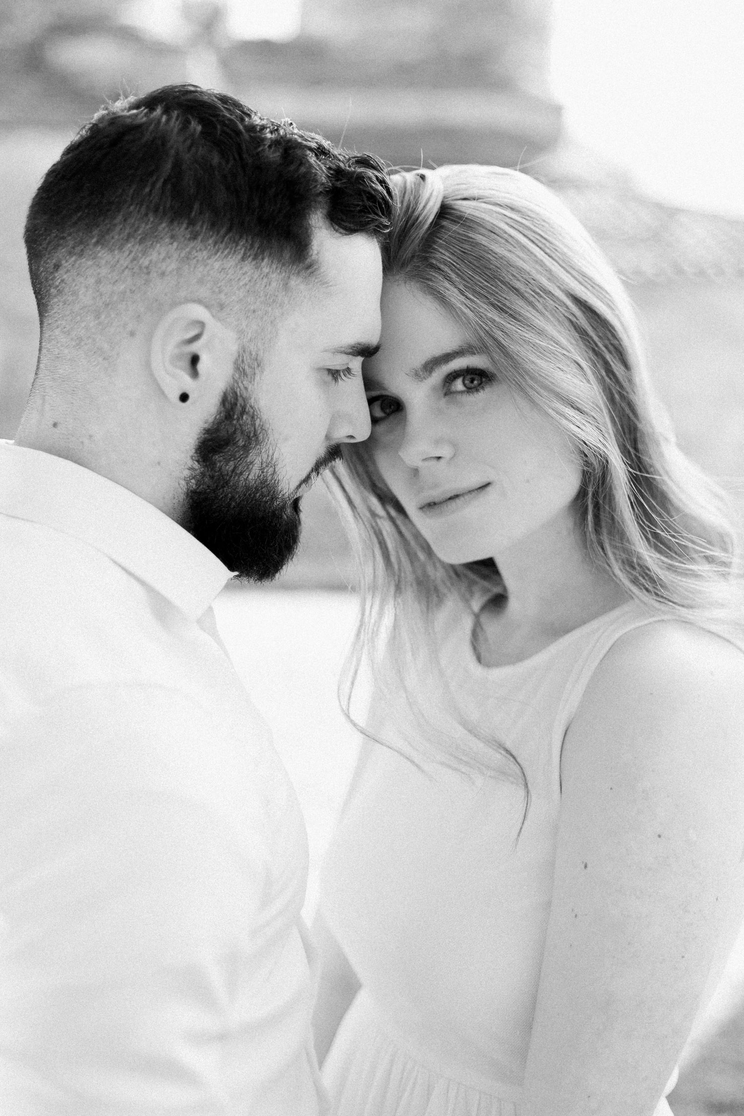 black and white engagement portrait while fine art engagement shooting
