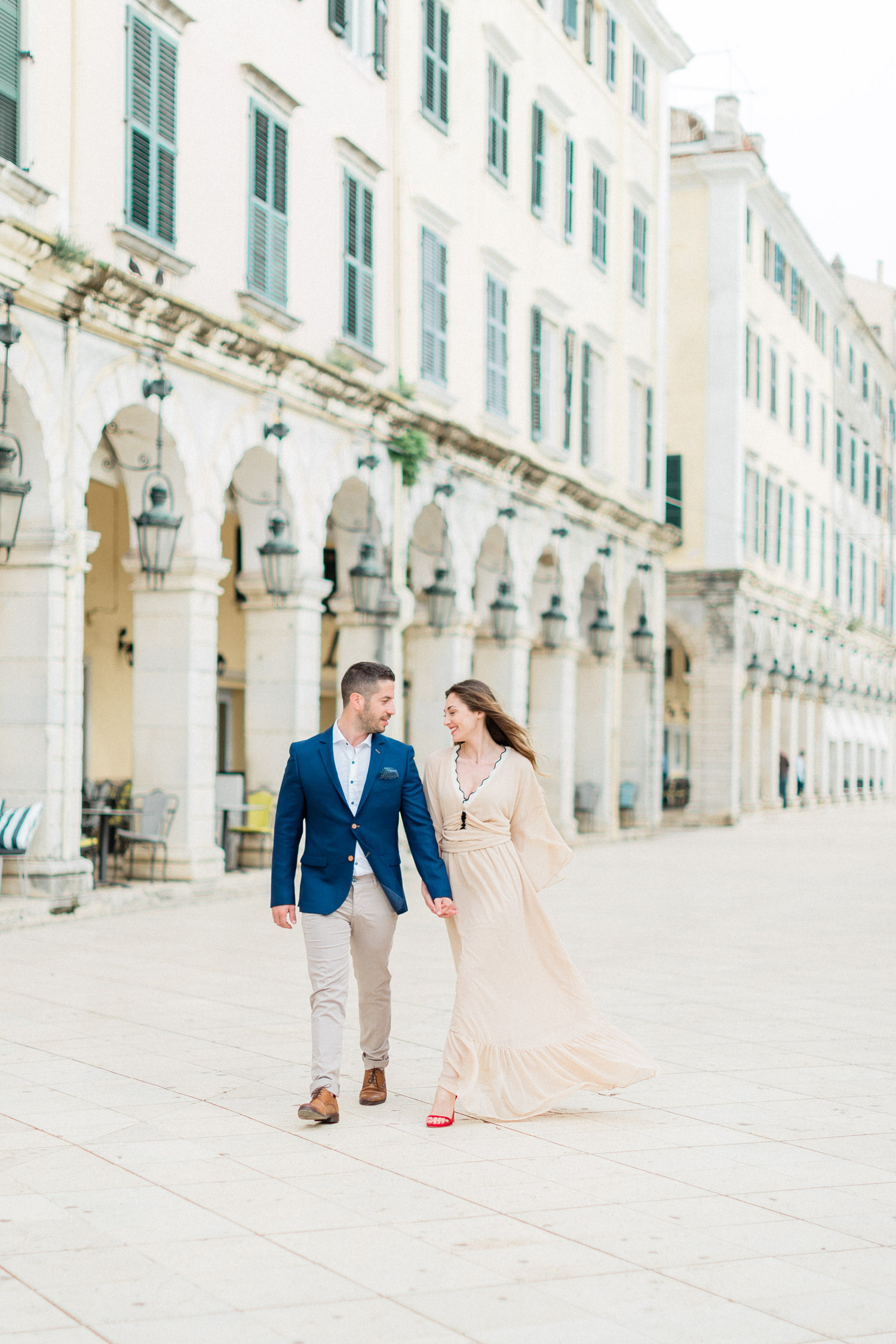 lovely engagement session, while walk in Liston square, Corfu