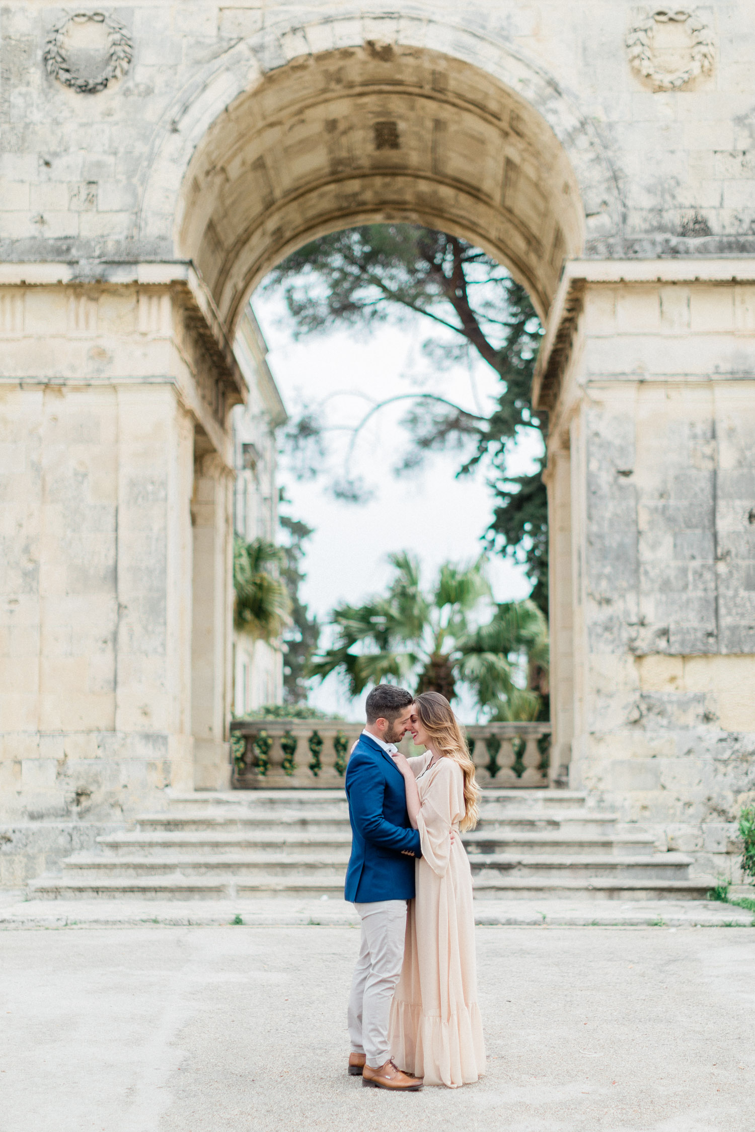 fine art engagement shooting at the Palace of St. Michael and St. George in Corfu.