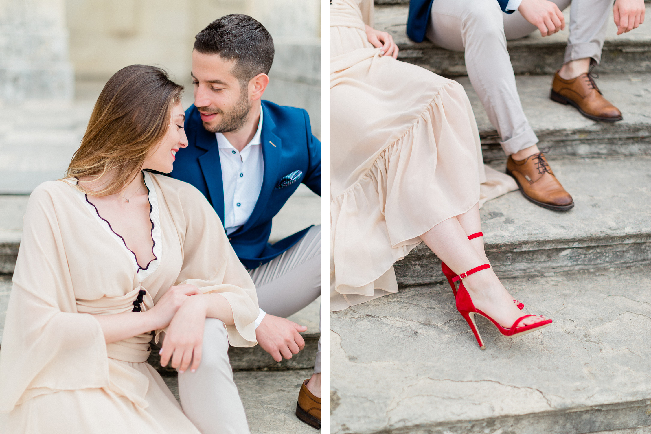 chic and elegant fine art engagement session at Corfu island, Greece