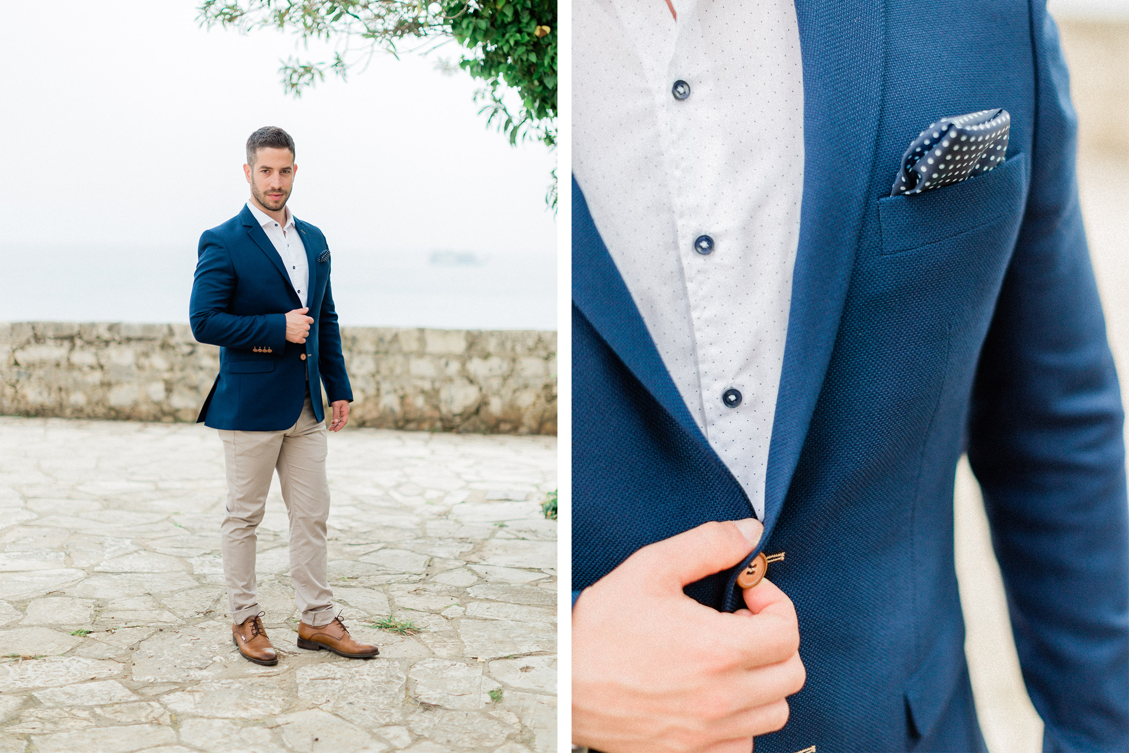 a handsome groom on a sea blue suit