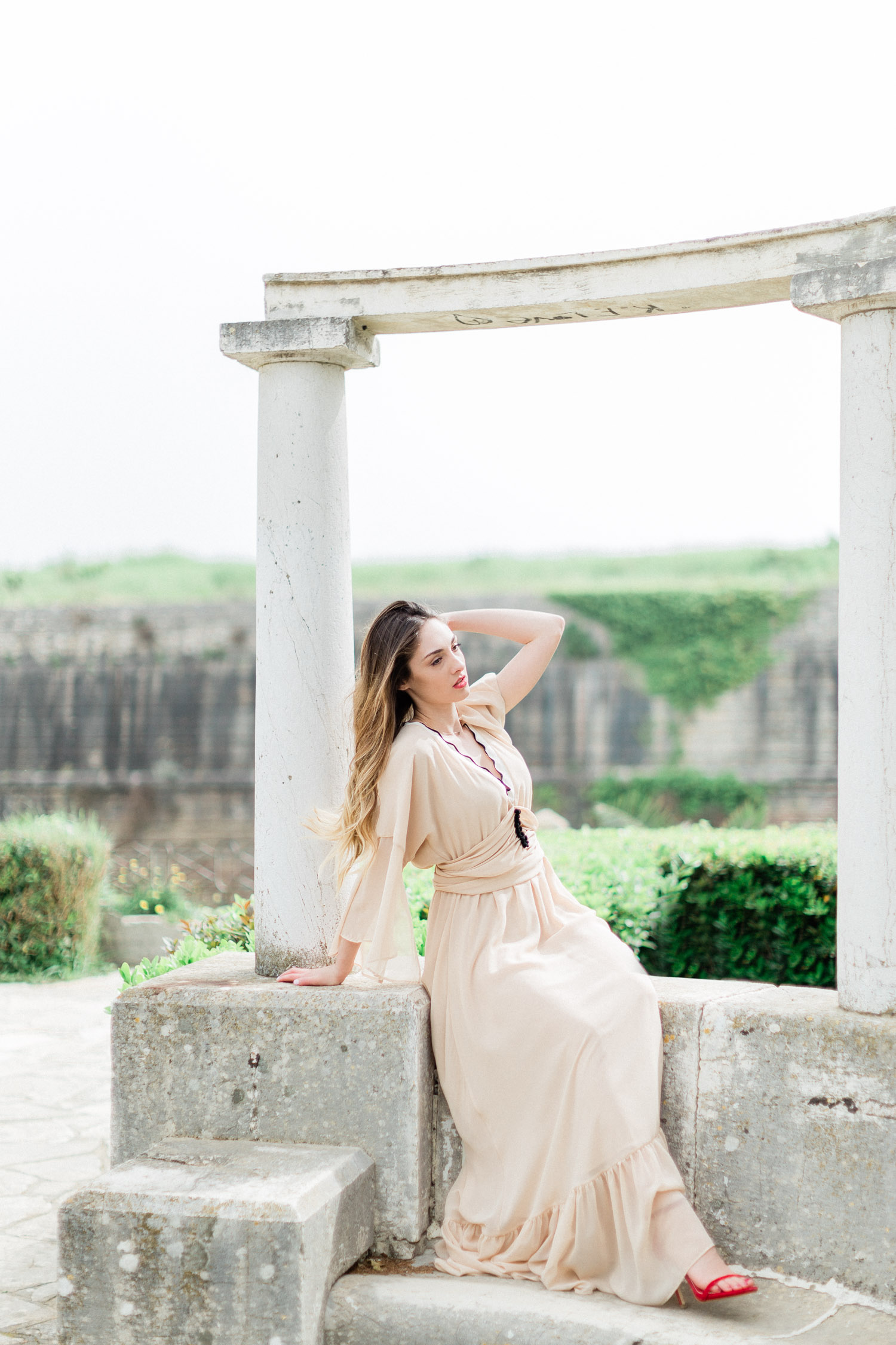 a bride to be portrait at Corfu old town, Greece