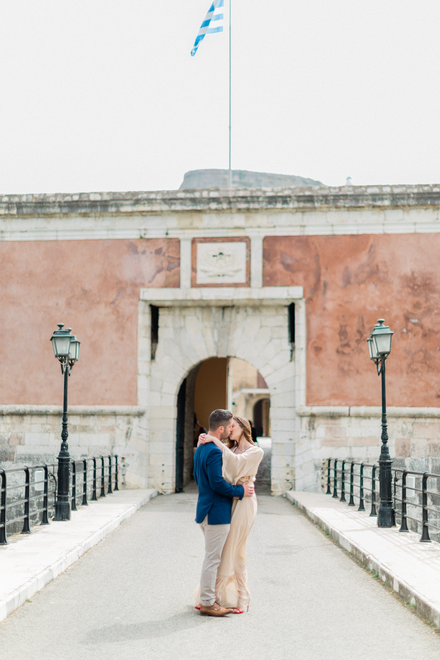 couple portrait while engagement shooting at Corfu old town, Greece