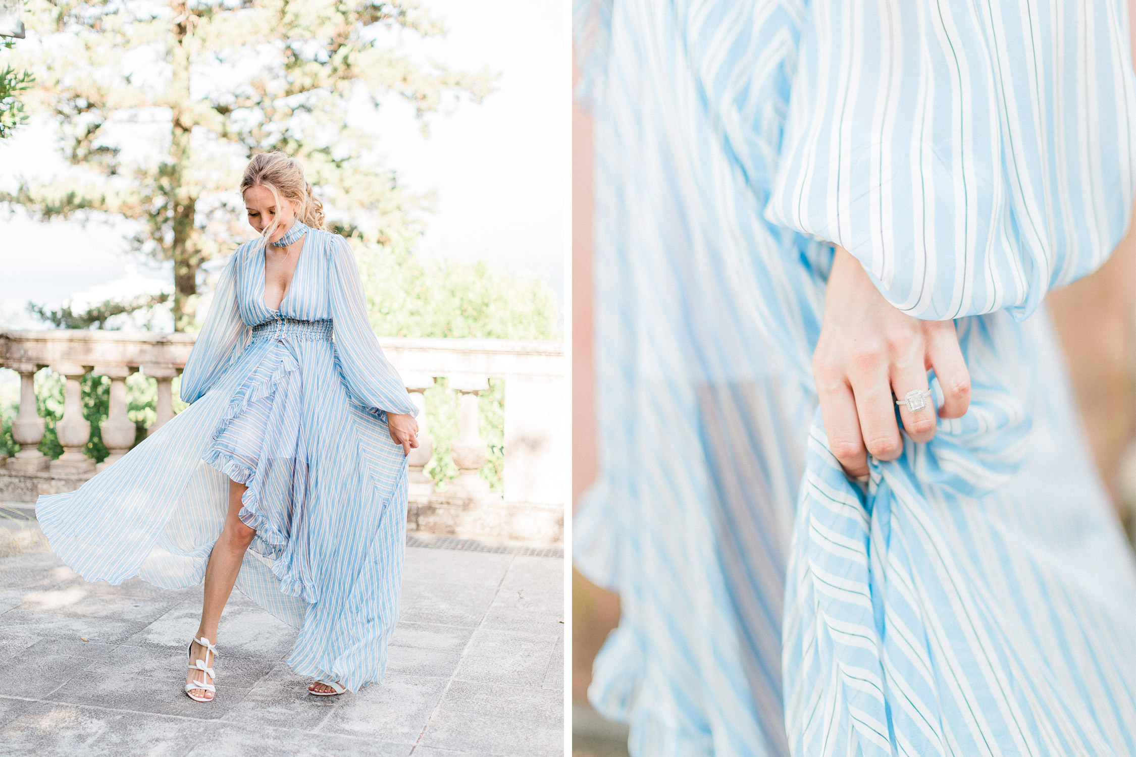 a chic bride to be shoes her engagement ring
