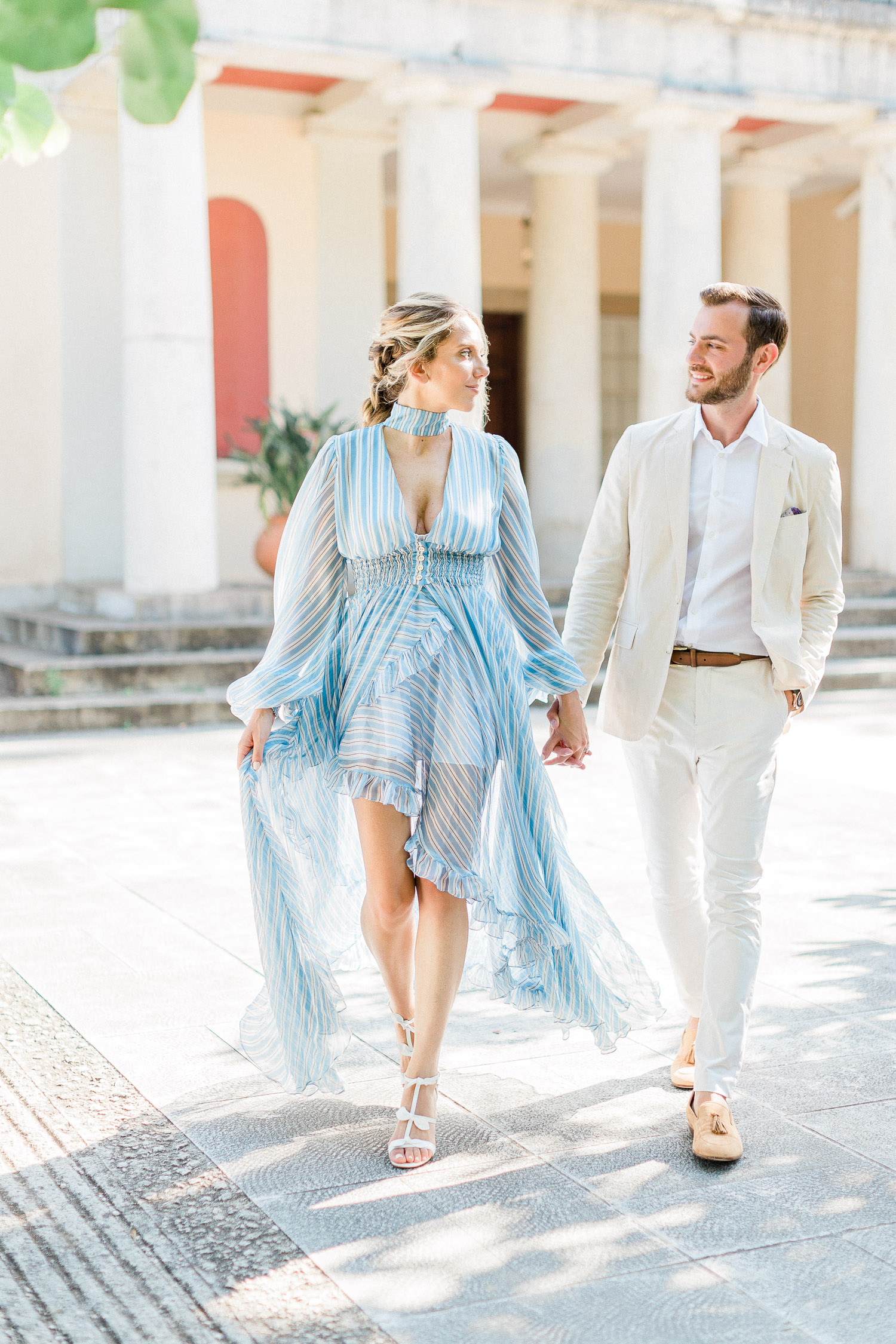 romantic couple while their pre wedding shooting at Corfu island