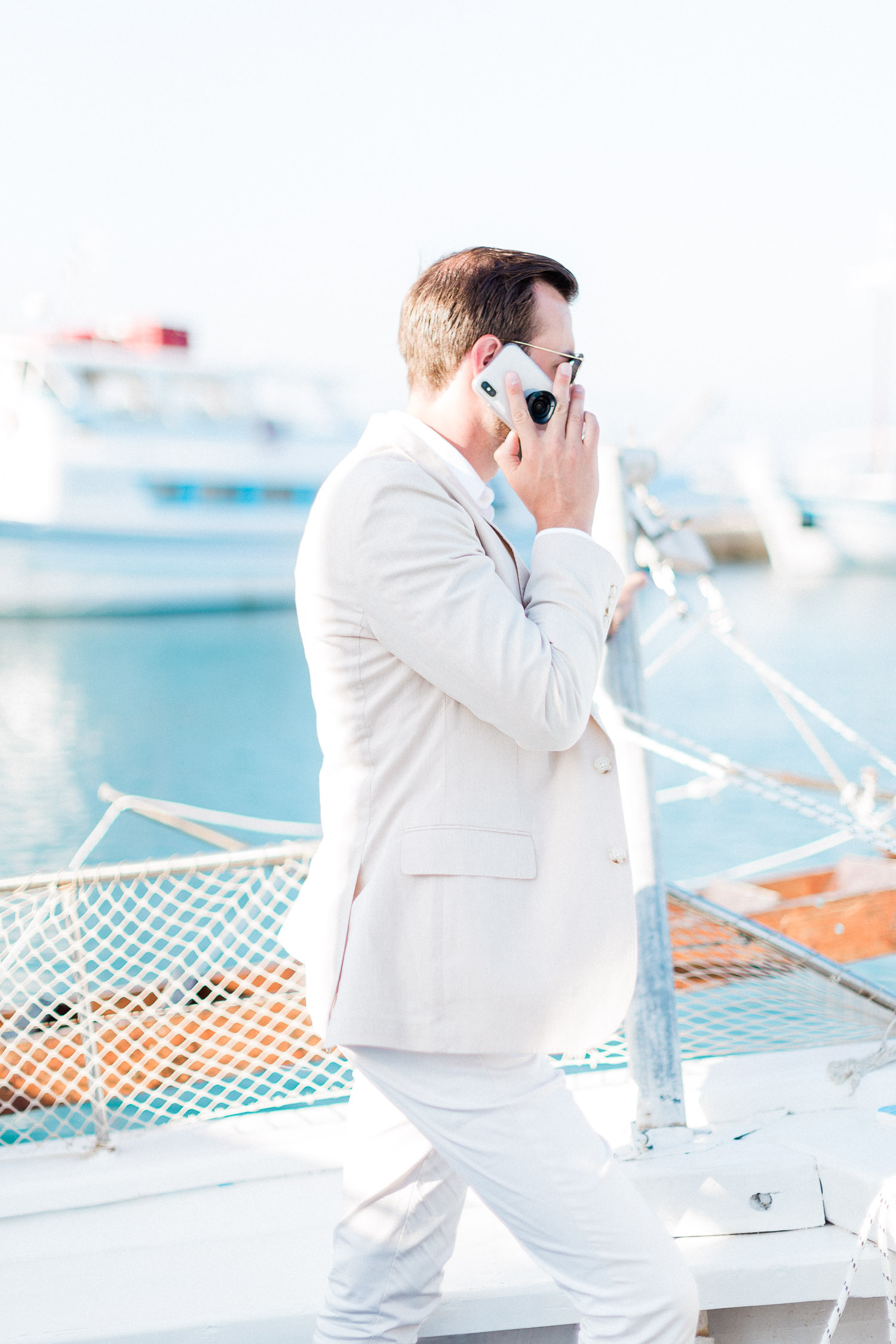 chic groom while reach the venue at Corfu