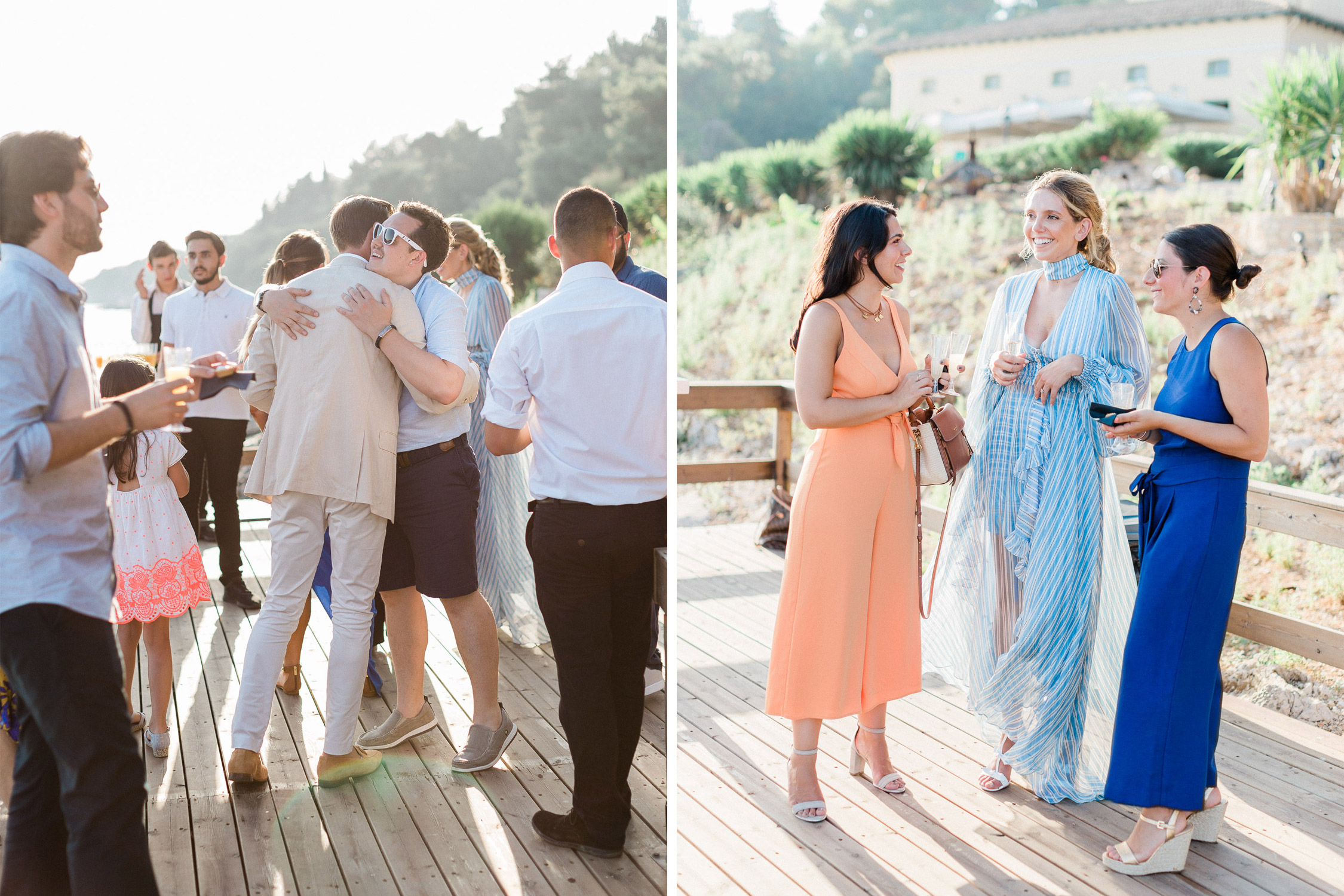 couple welcome their wedding guests at Corfu