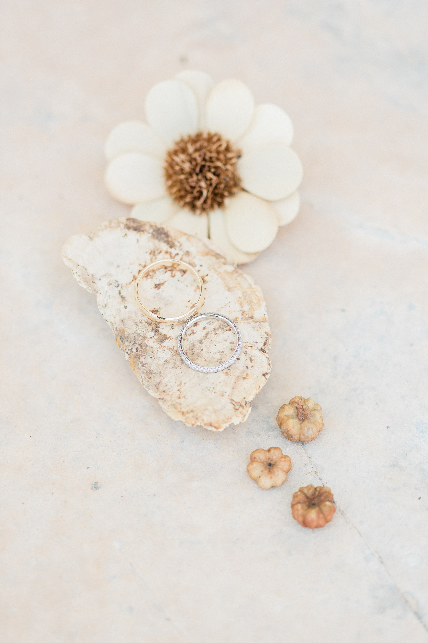 wedding rings flat lay on a July wedding in Corfu