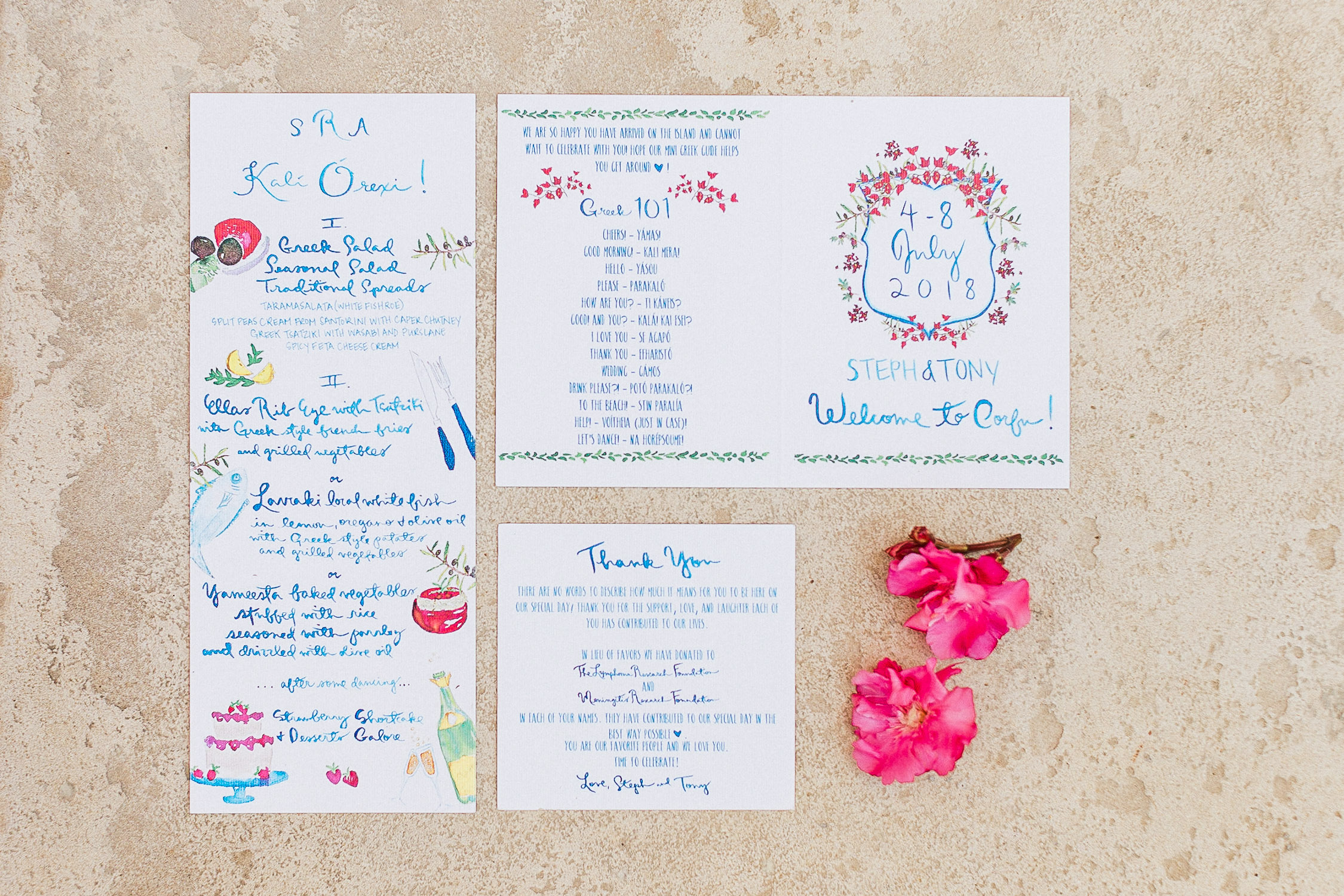 colourful stationary flat-lay with pink blush flowers