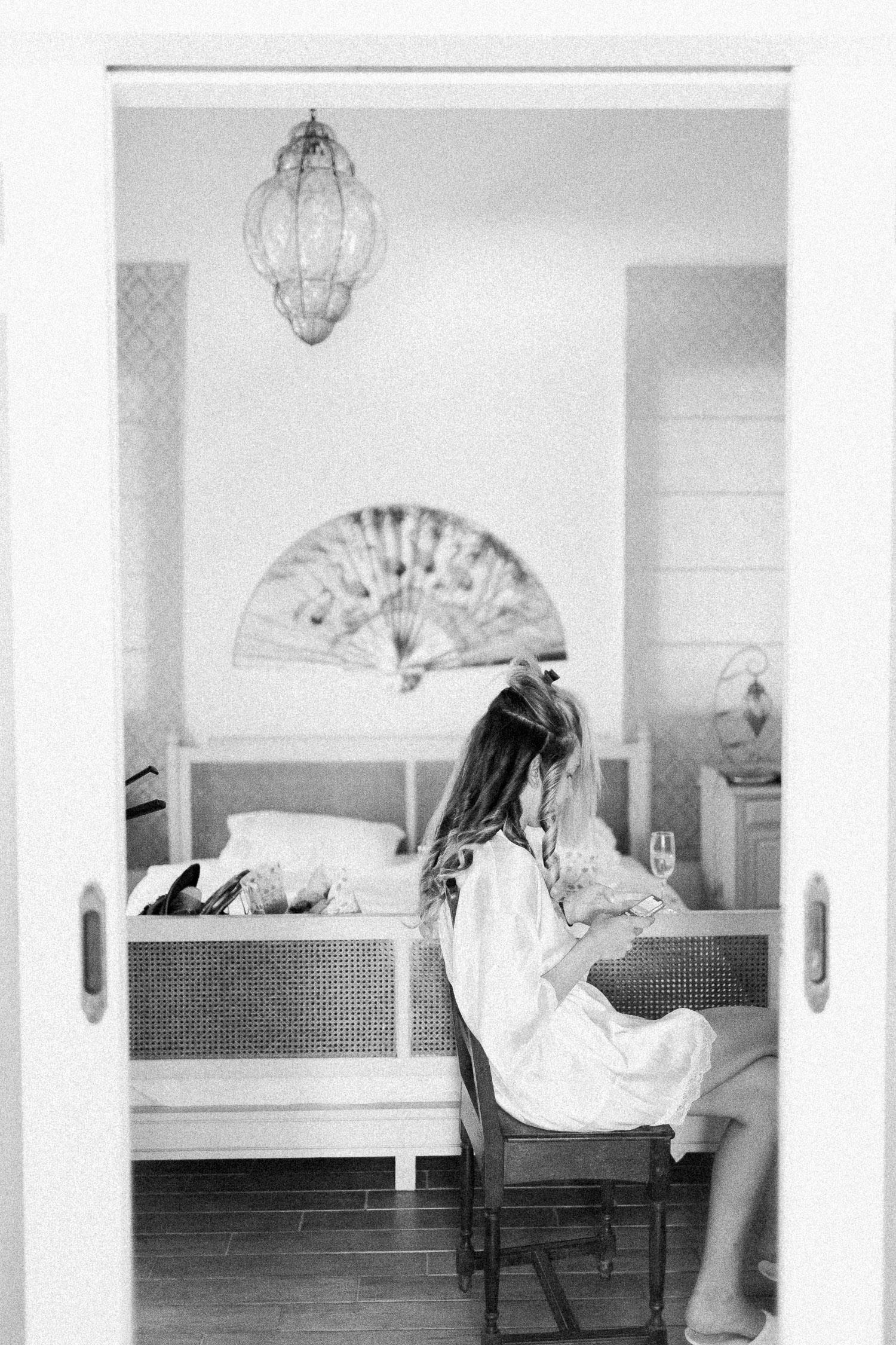 black & white capture while bride's preperation in Corfu