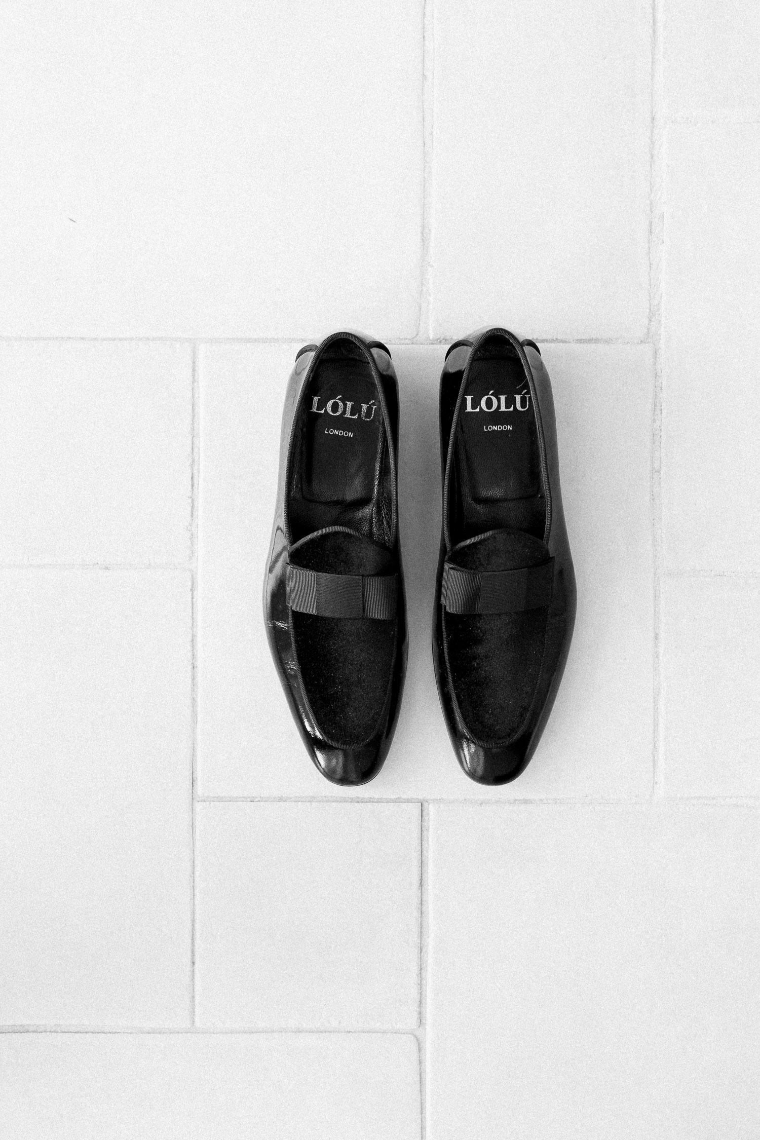 groom's shoes on a July wedding in Corfu