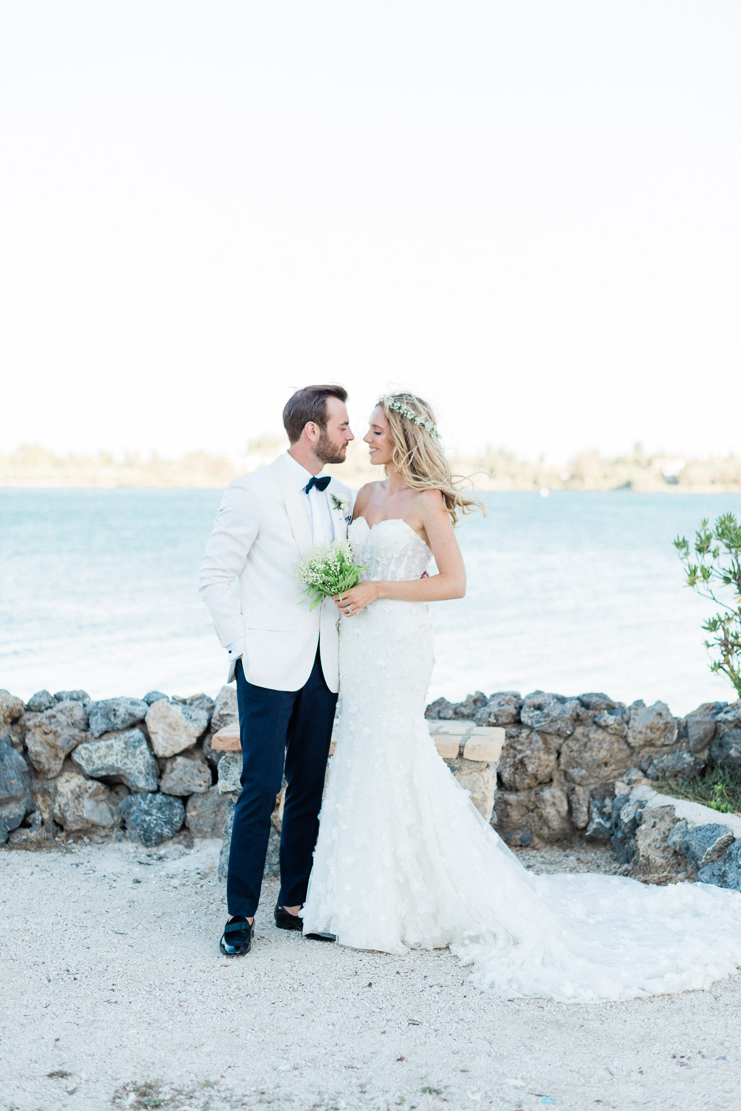 bride and groom portrait after ceremony in Corfu