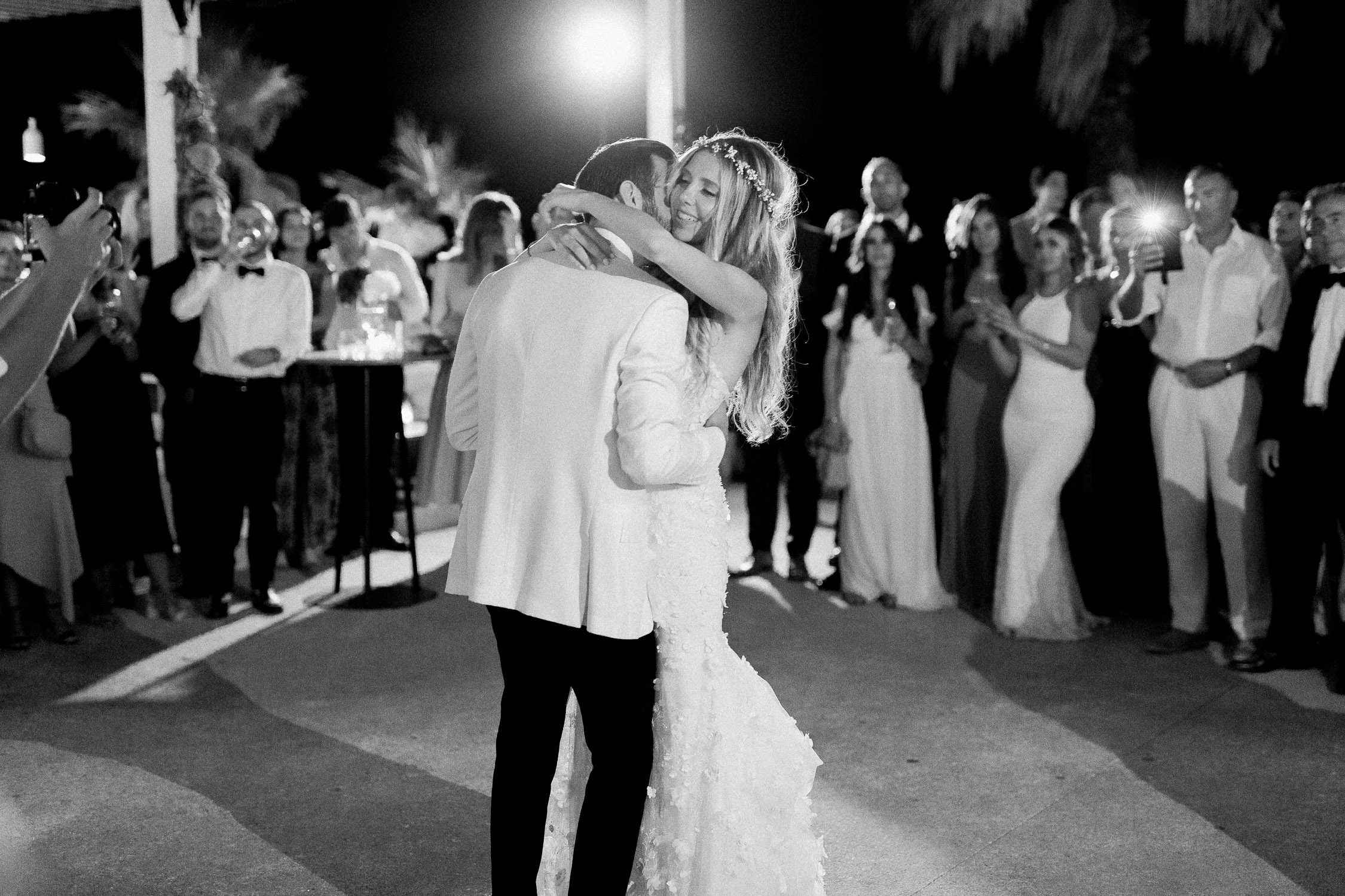 bride and groom first dance on a July wedding in Corfu