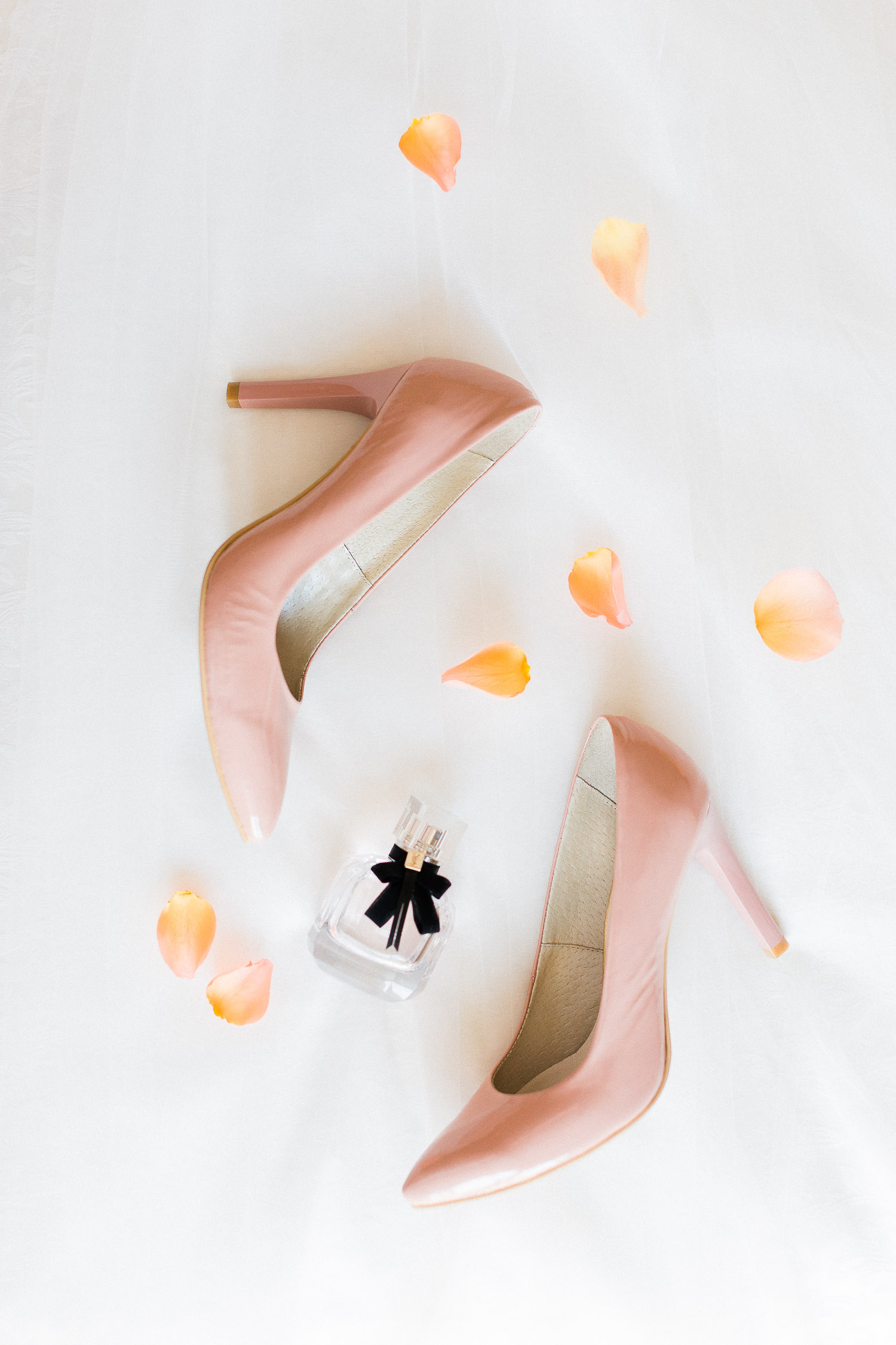 dusty pink bridal shoes flat lay