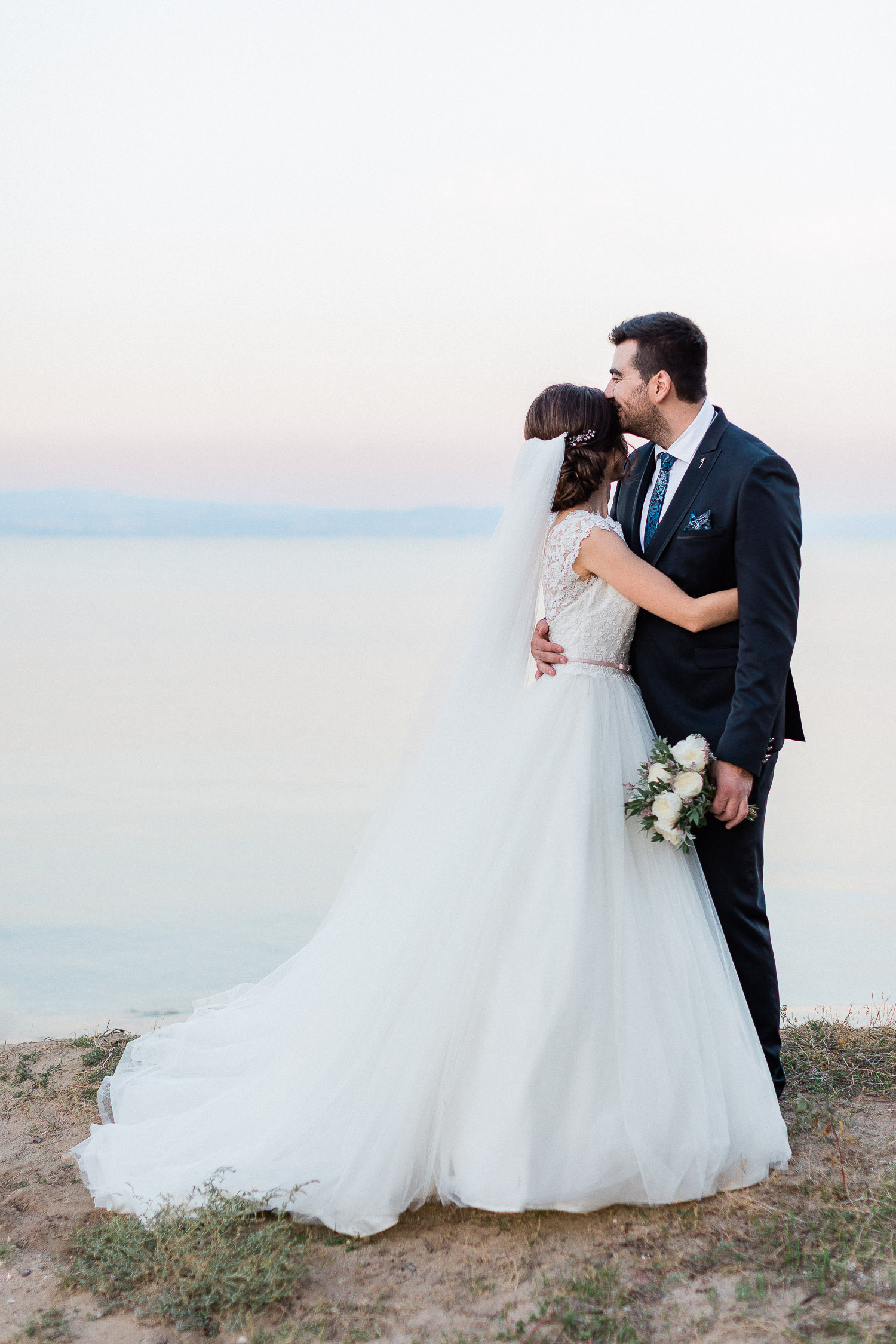 romantic bride and groom portrait on a wedding in Halkidiki