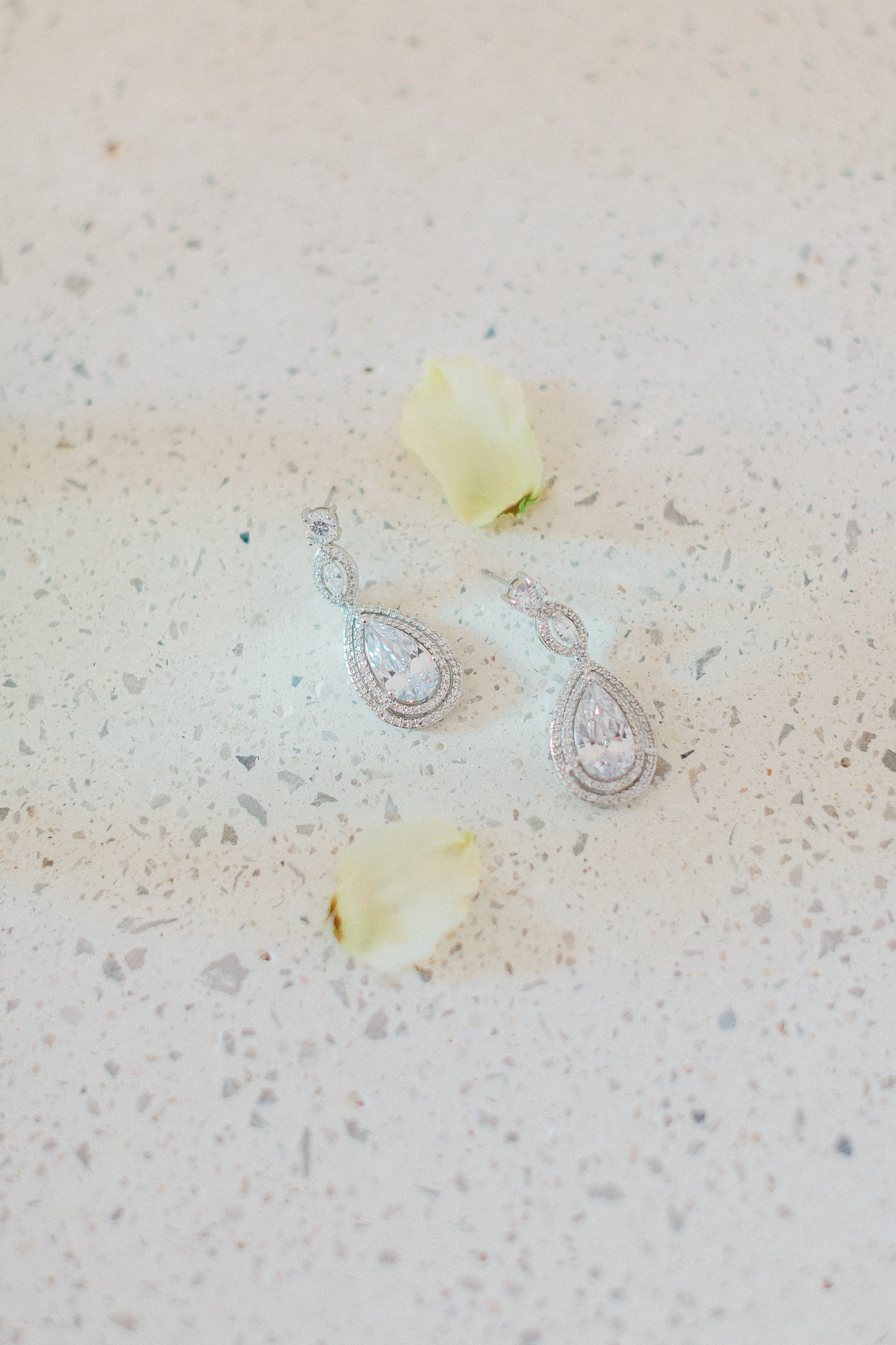bride's earrings on a Traditional corfu estate wedding
