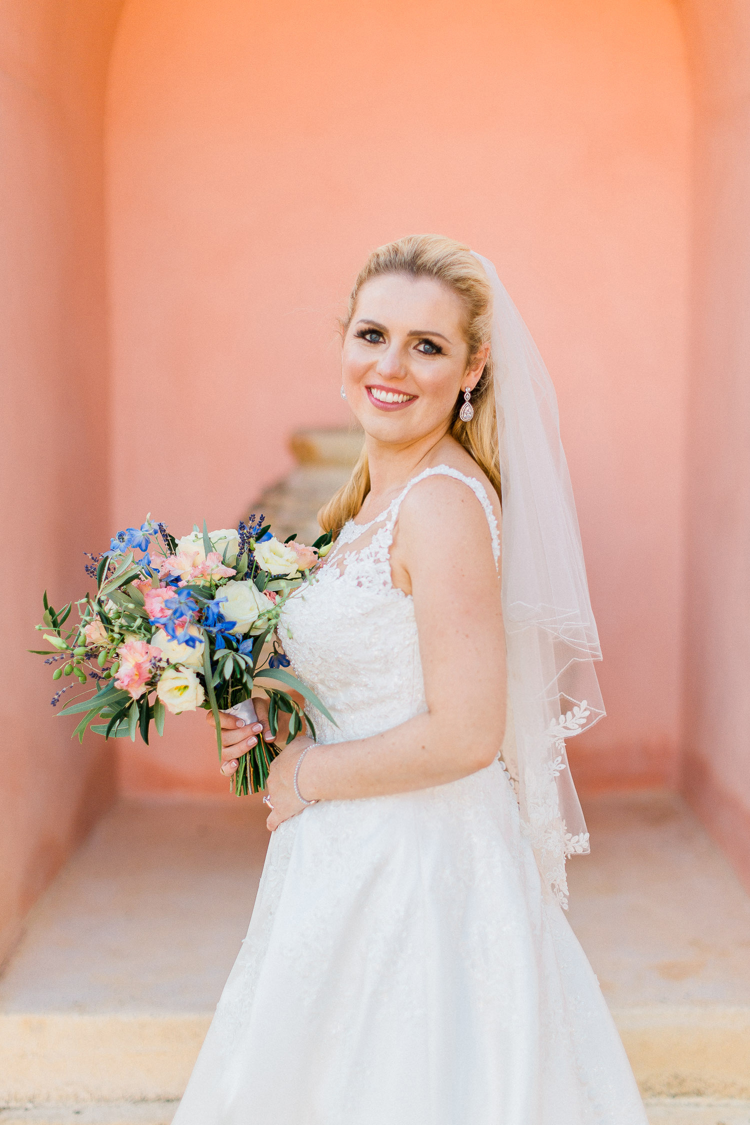lovely bride on this Traditional corfu estate wedding
