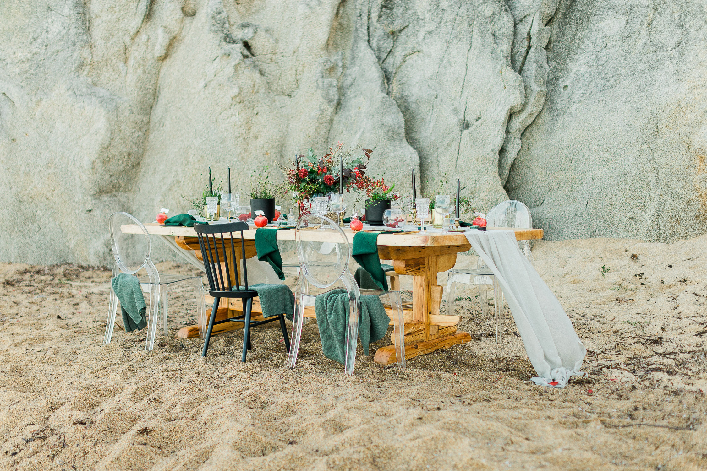 table set up at a rocky beach in Halkidiki
