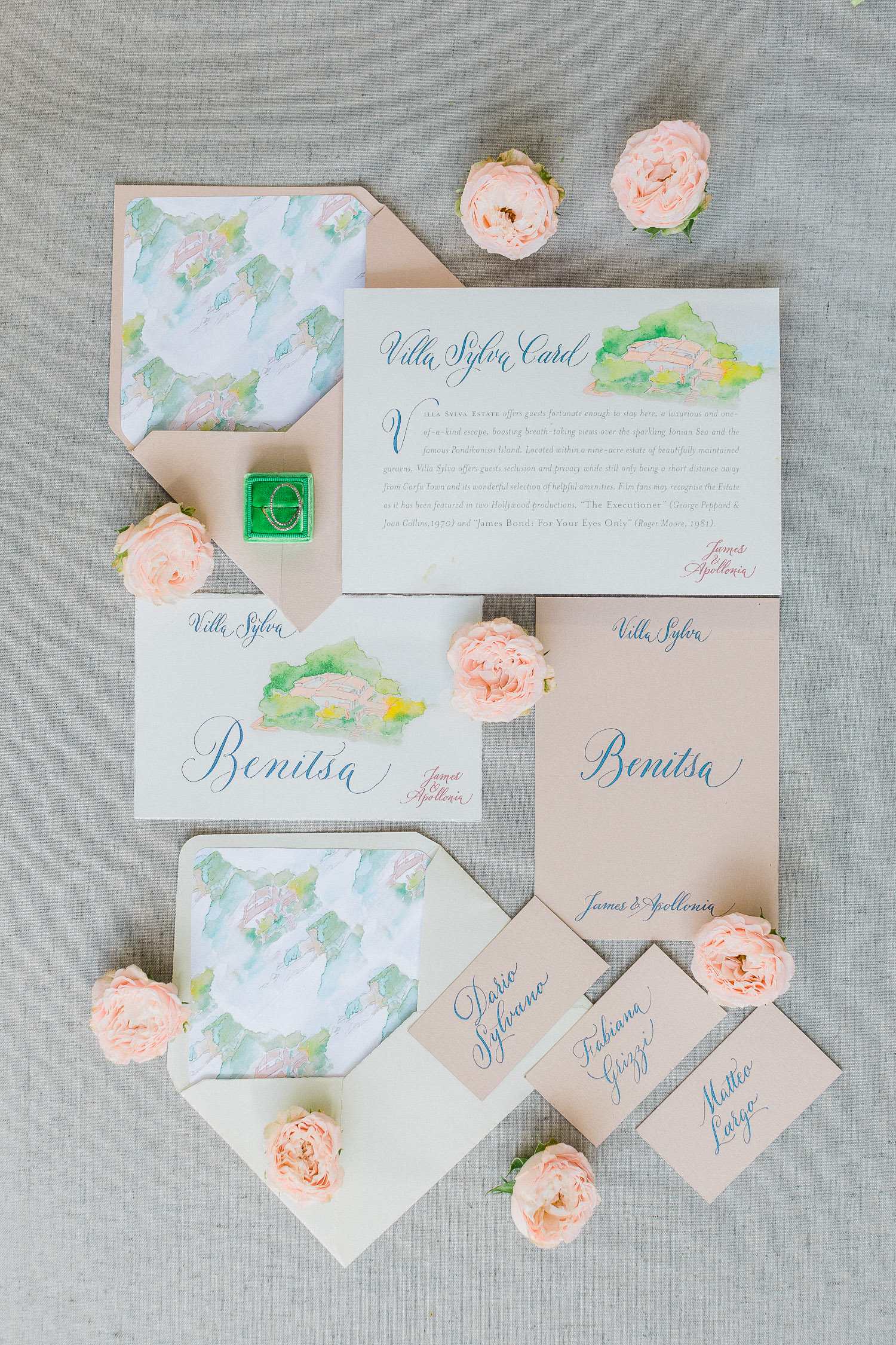 Pastel colours calligraphy invitation flat lay while a chic wedding at Corfu