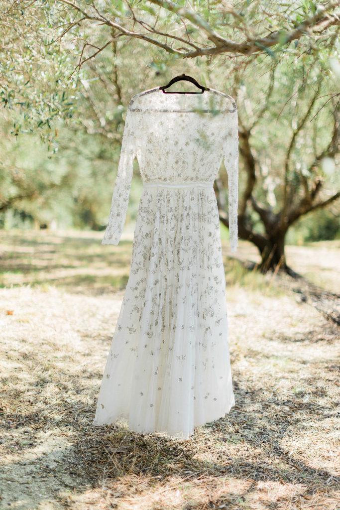 boho bridal dress in olive grove at Corfu