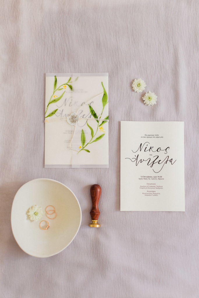 organic wedding stationary flat lay photography