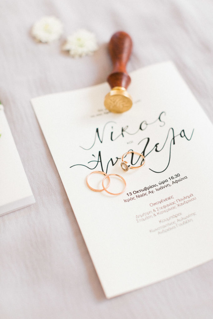 rose gold wedding rings, calligraphy stationary photography