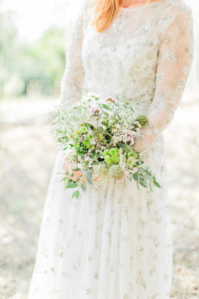 colourful organic wedding bouquet at a Corfu organic wedding
