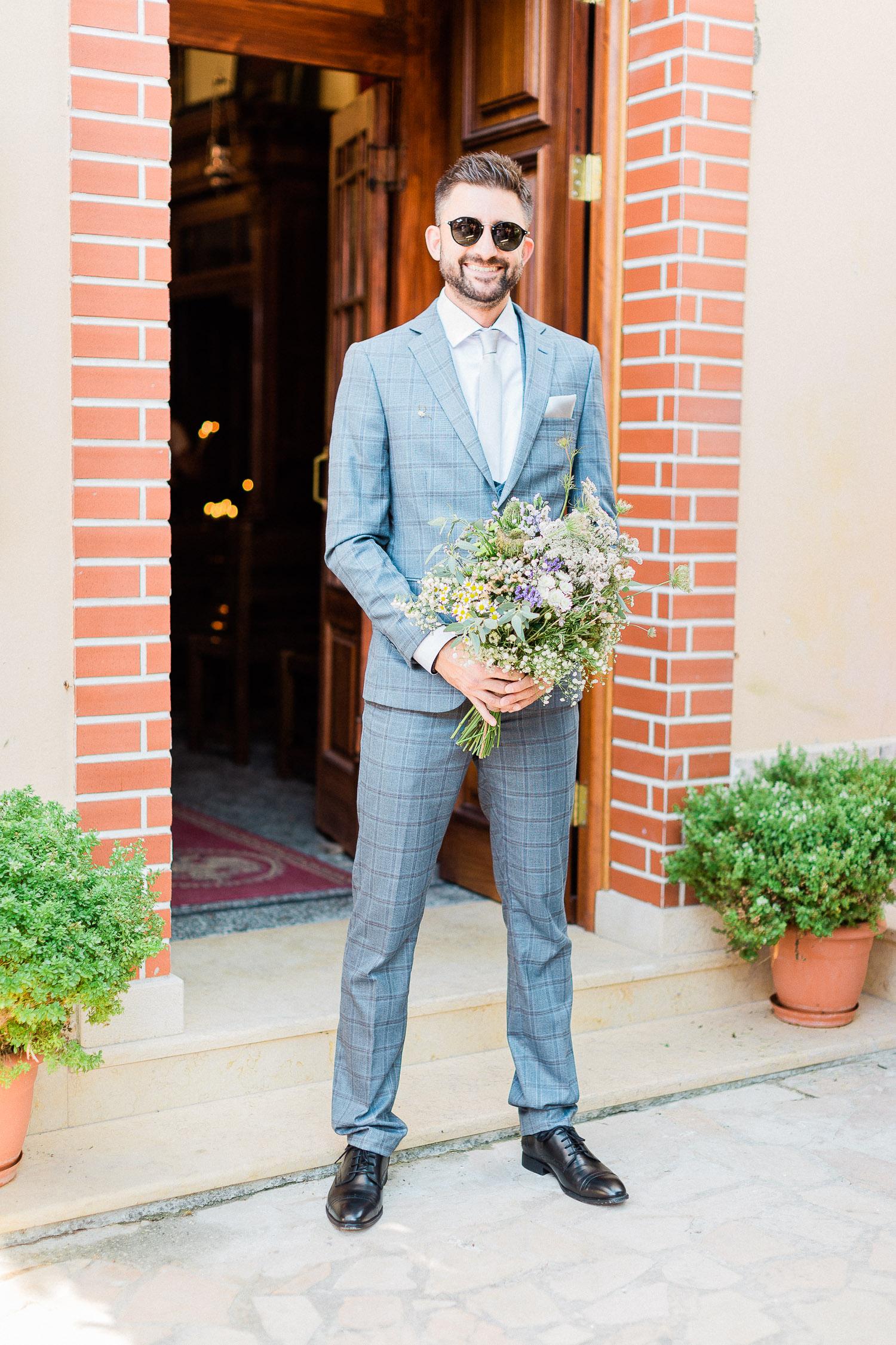 Corfu organic wedding groom