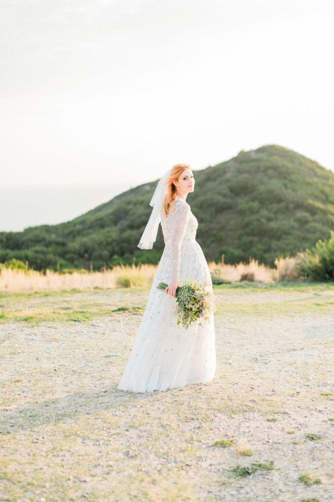 luminous and shiny bridal fine art wedding portrait in Greece