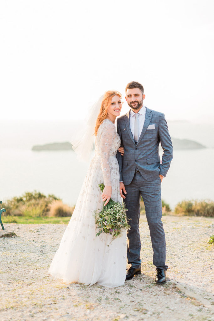 fine art bride & groom portrait with spectacular view at Ionian sea