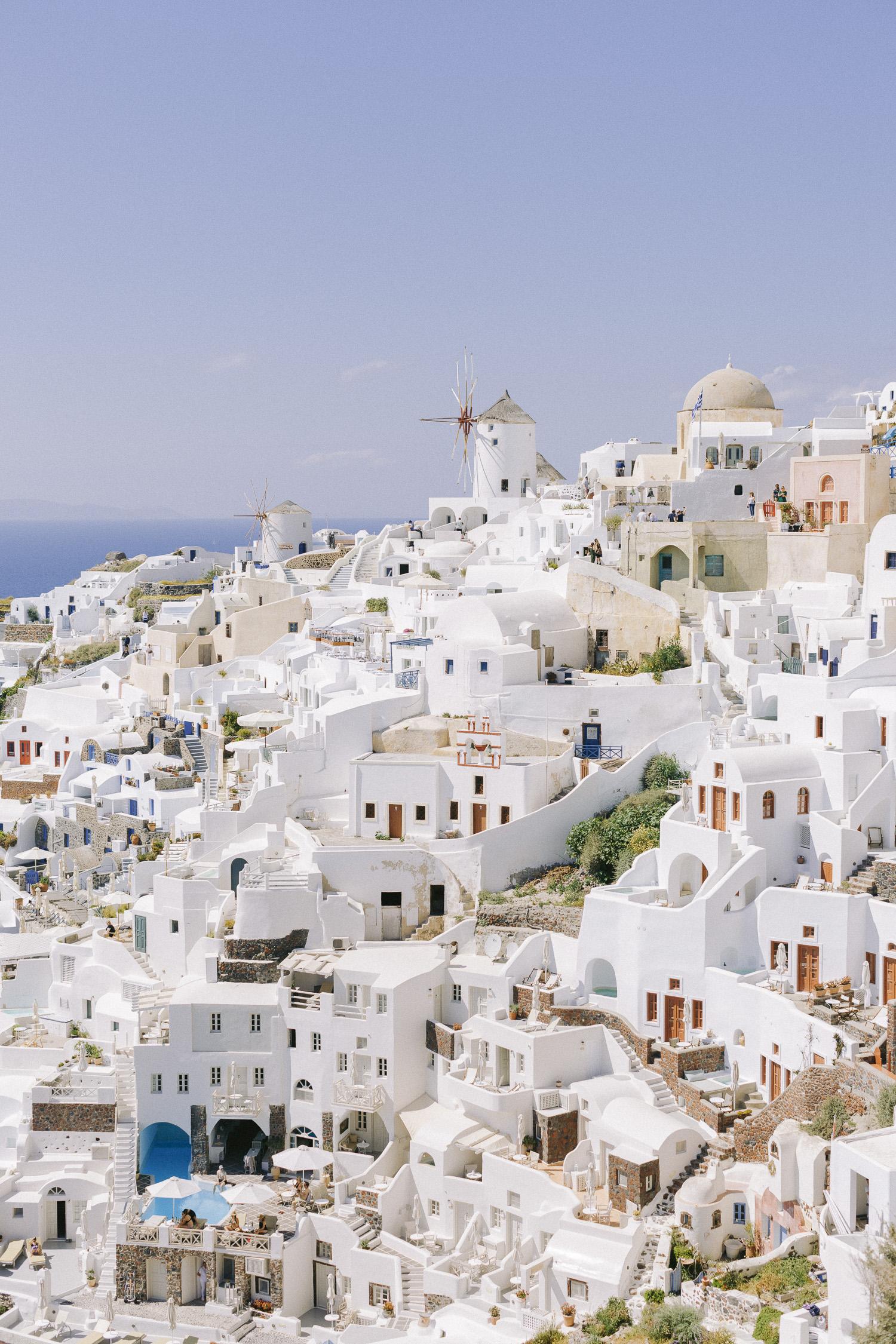 All white amazing view of stunning Santorini island