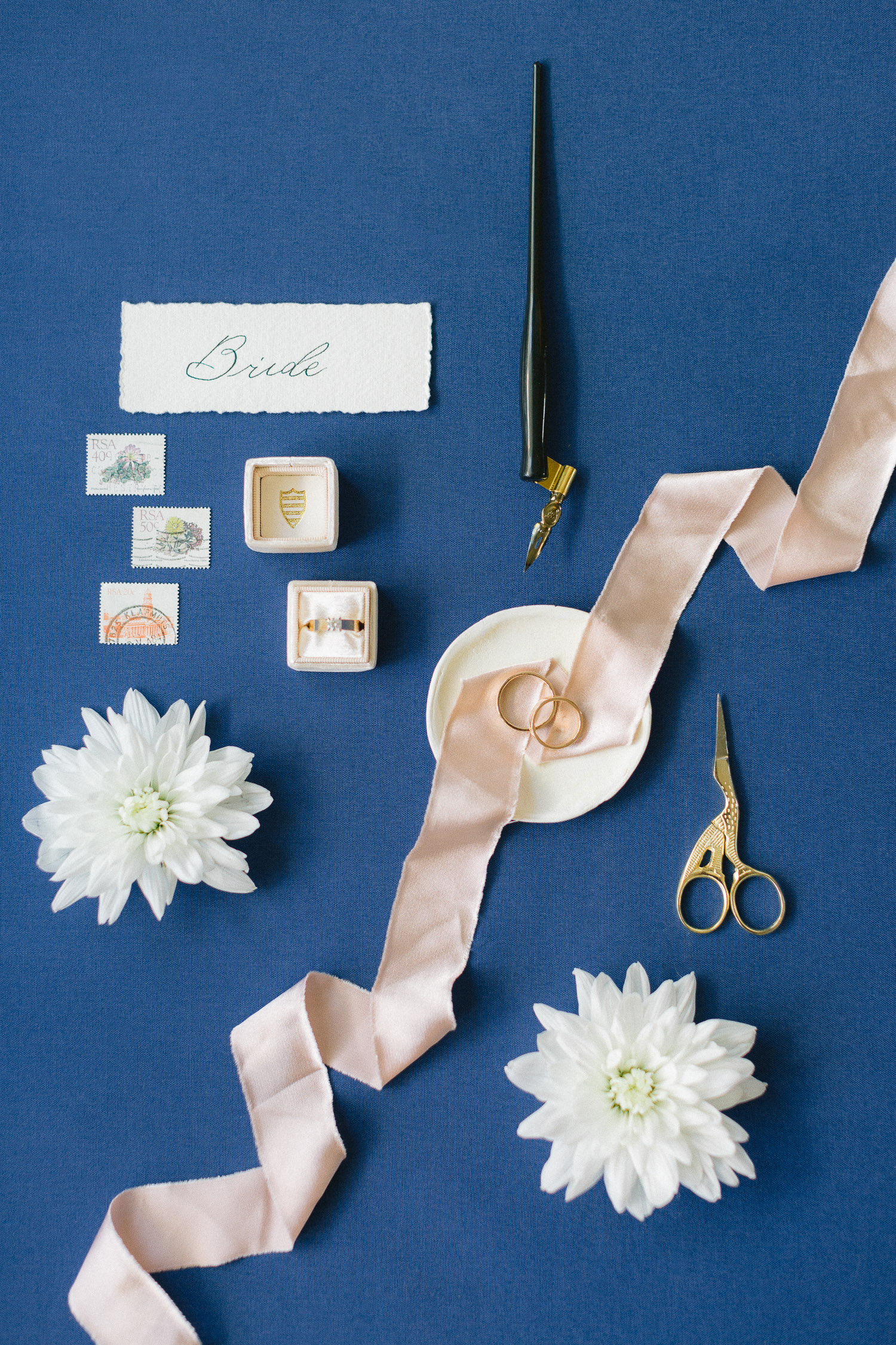 luxury bridal styling details flat lay