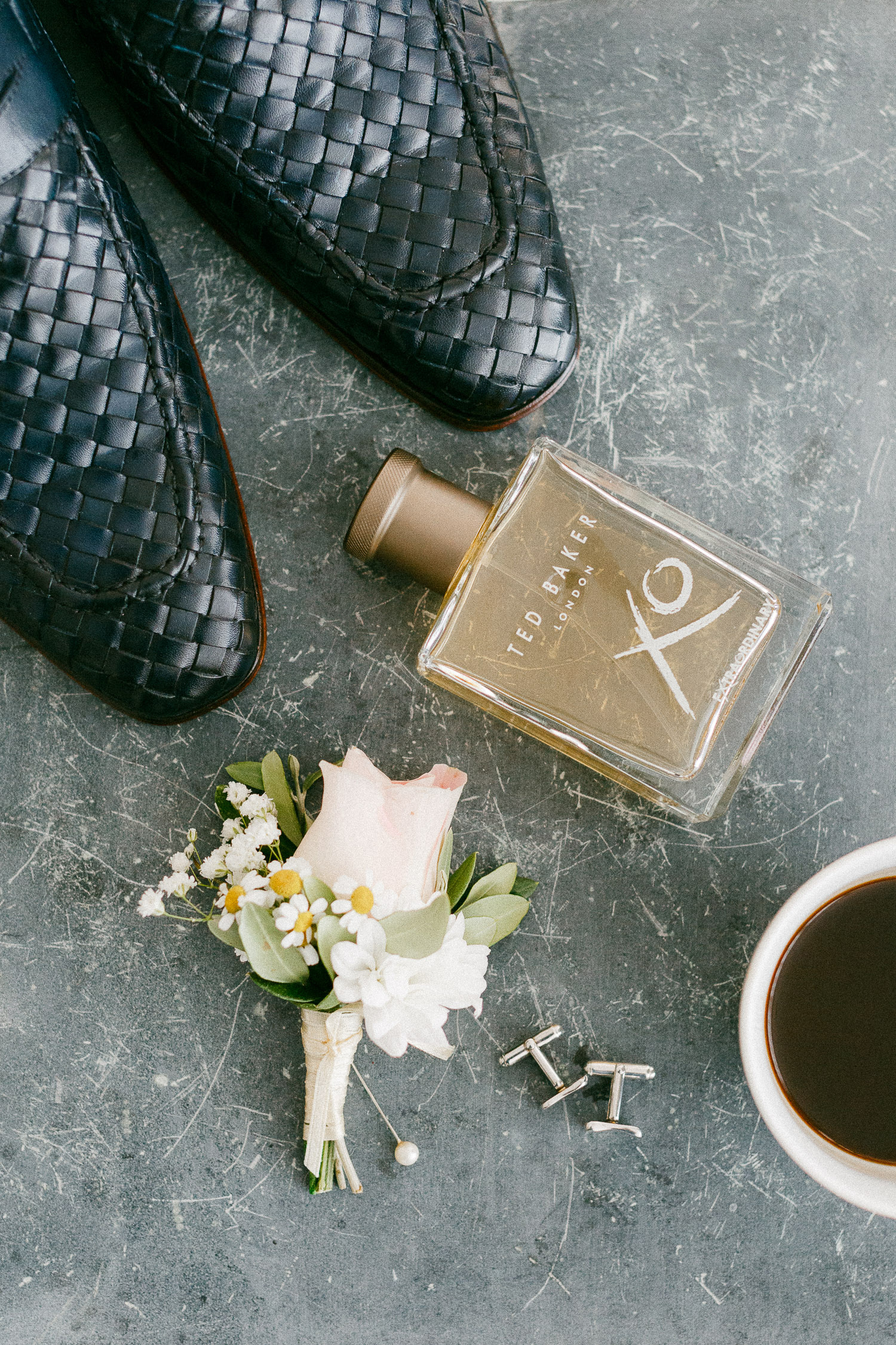 Groom styling details flat-lay photography at Old World micro wedding in Corfu Island