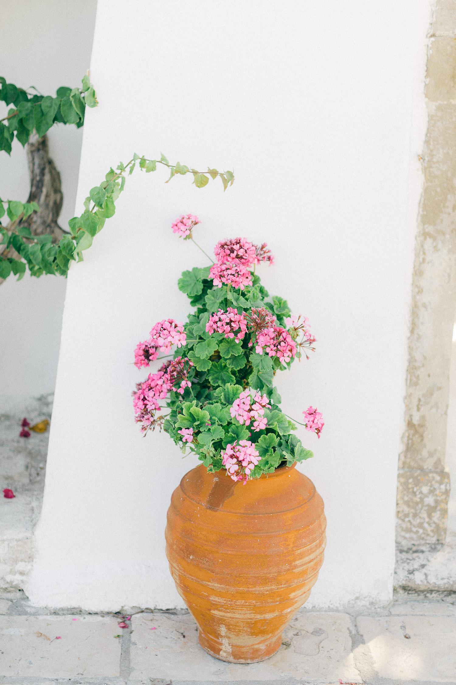 Pink blooms decor at Old World micro wedding in Corfu Island
