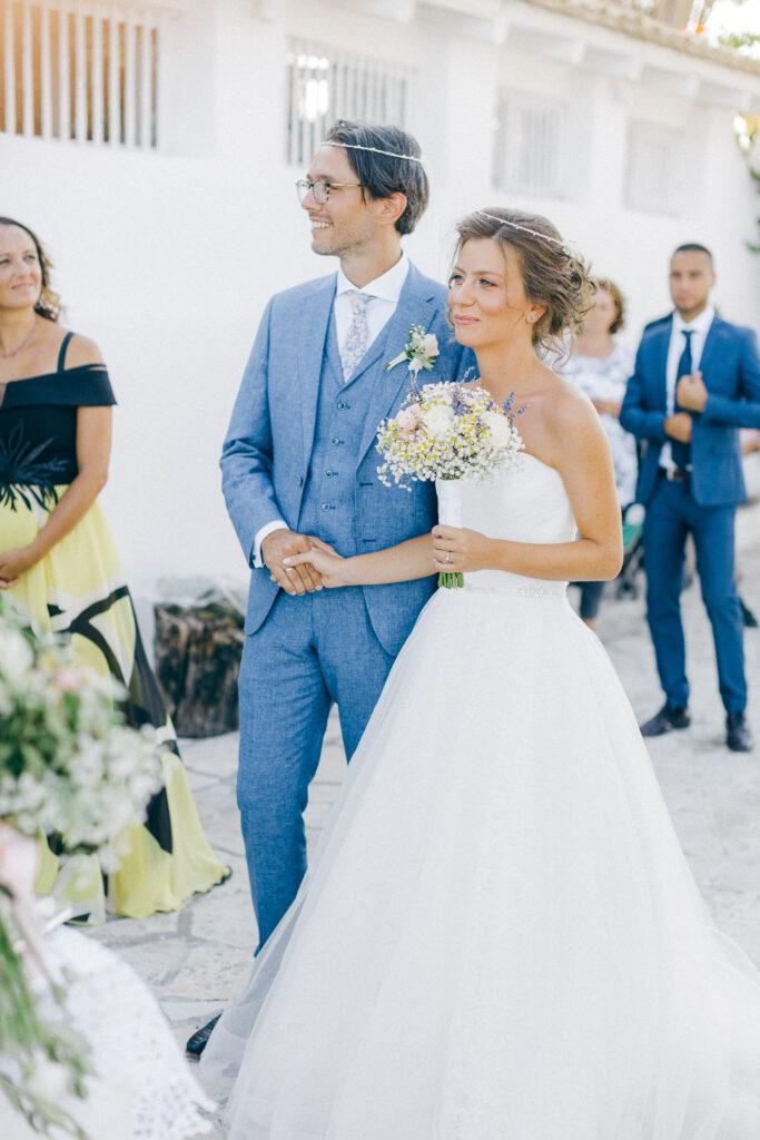 Happy newlyweds while an Old World micro wedding in Corfu Island