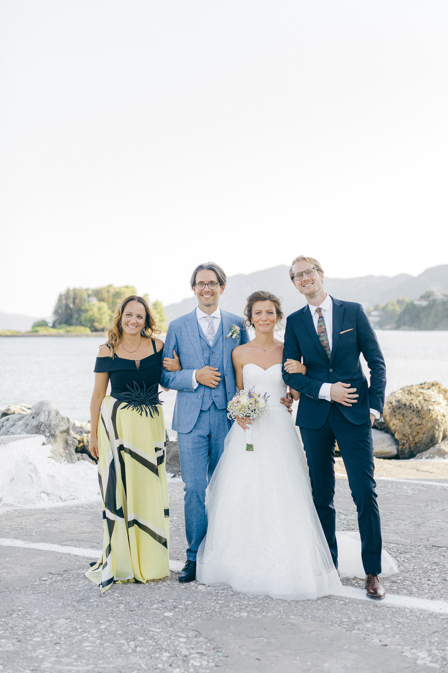 Family wedding photos after ceremony at Old World micro wedding in Corfu Island