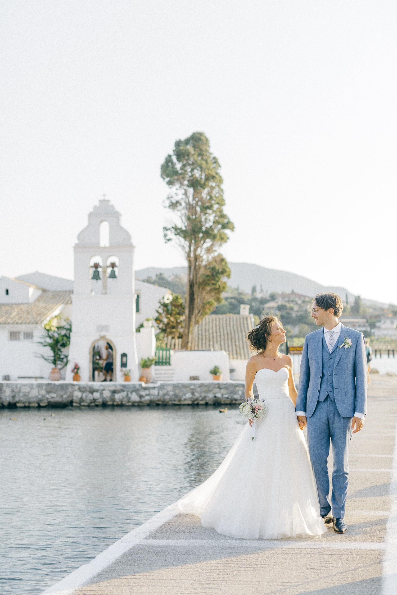 Bride and groom wedding ceremony exit at Old World micro wedding in Corfu Island