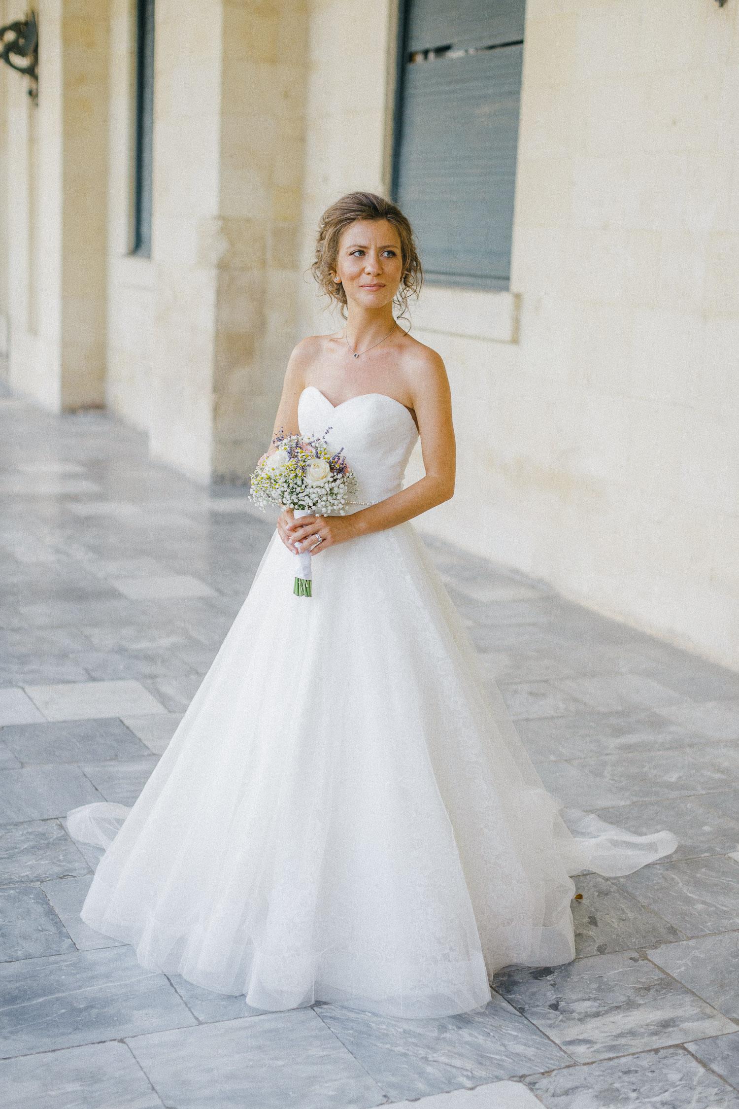 Timeless bridal portrait at Corfu St Michael Palace while an Old World micro wedding in Corfu Island