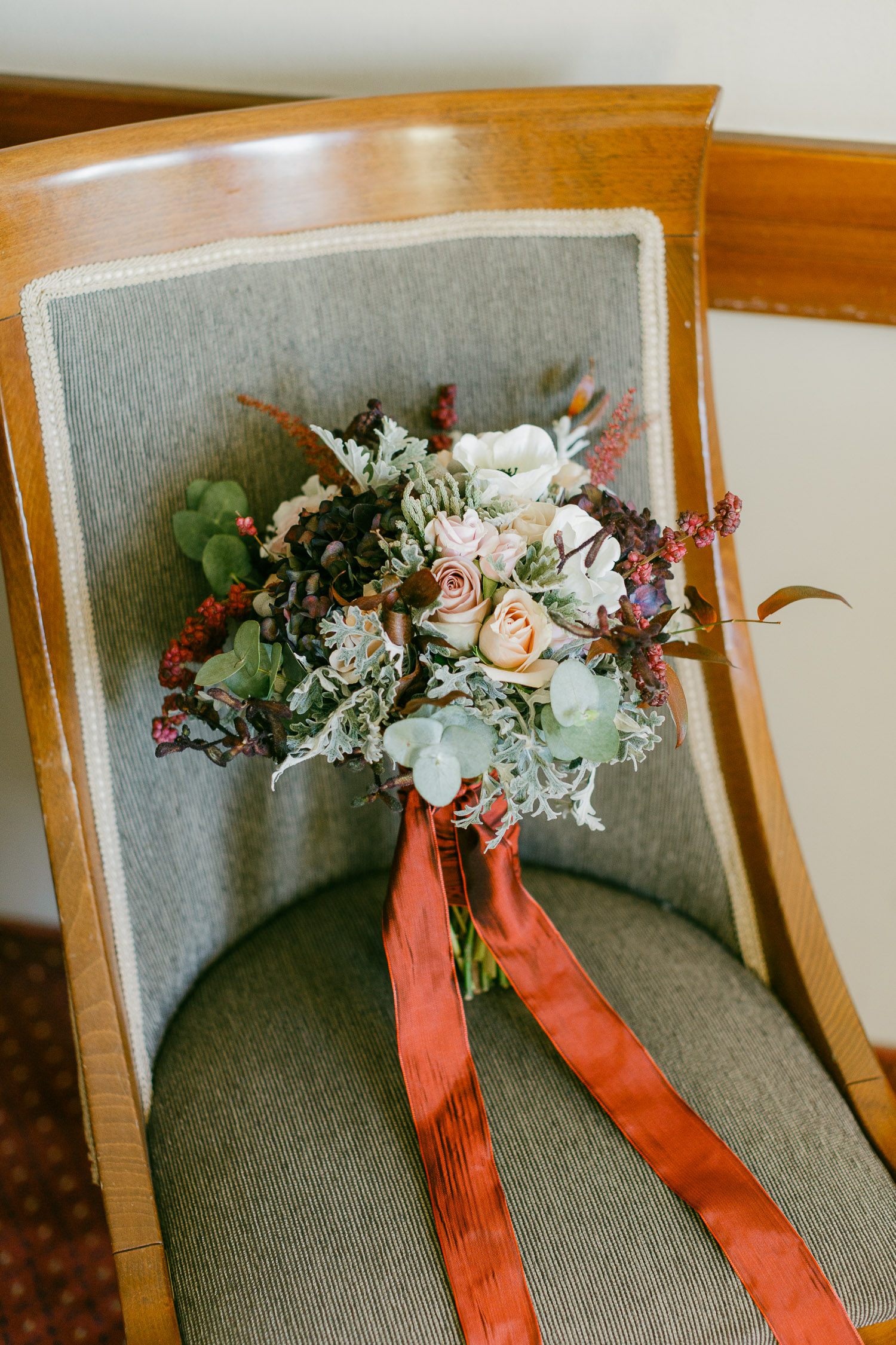 Great wedding bouquet made of winter plants and flowers on a whimsical Thessaloniki New Years Eve Wedding